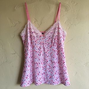 Laura Ashley XL pink chemise top cami floral